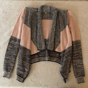 Candie's Color Block Cardigan in Pink and Grey